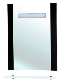 Зеркало Берта 75 чёрное с полкой и подсветкой