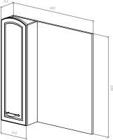 Зеркало-шкаф Амелия 70 R белое, патина серебро