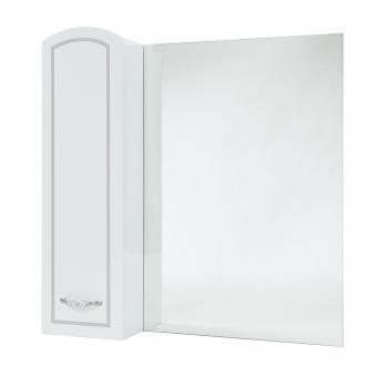 Зеркало-шкаф Амелия 70 L белое, патина серебро