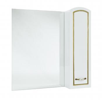 Зеркало-шкаф Bellezza Амелия 70 R белое, патина золото