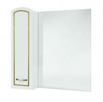 Зеркало-шкаф Bellezza Амелия 70 L белое, патина золото