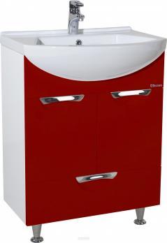 Тумба с раковиной Альфа 55 красная с ящиком